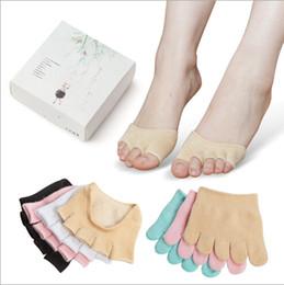 Wholesale Ankle Skid Socks - Wholesale- Hot Design 10 Pairs Half Foot Socks Finger Skid Peep Toe Anti Slip Pilates Ankle Durable High Heel Half Open Socks