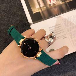 Wholesale Red Round Best Gifts - Elegant women watches luxury brand Rhinestone 34mm dial Leather strap quartz dress watch for ladies girls female best gift wristwatches