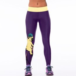 Wholesale Dog Gym - New 005 Sexy Girl GYM Fitness Yoga Pants Purple Cute Dog on bike Prints High Waist Stretch Running Jogging Sport Women Leggings