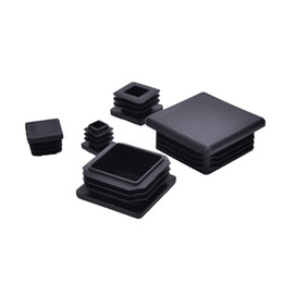 móveis finais Desconto Atacado-10Pcs Preto Plástico Blanking End Caps Inserções Quadradas Para Seção de Caixa de Tubo Tubo de Acessórios de Móveis Por Atacado