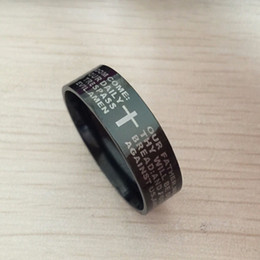 Wholesale English Cross Rings - Black men english bible ring 8mm 316 Titanium Steel cross Letter prayer bible wedding band the lord of the ring men women
