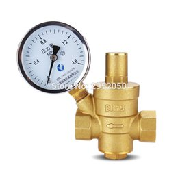 "Wholesale Regulator Gauge - free shipping 1 2"" Brass DN15 water pressure regulator (prv) with Gauge,pressure maintaining valve water pressure reducing valve"