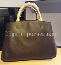 Wholesale Womens Real Leather Brown Bag - Top quality! Real leather montaigne mm Hot sell New Arrivals Womens Handbags Brand Shoulder bags Totes bags womens bags purse 48813 *41056