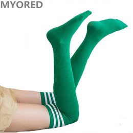 Wholesale Colored Knee Highs - stripes red green colored girls sexy stockings over the knee thigh high summer soccer sports football dancing long stocking sock 40pair DHL