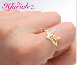Wholesale Origami Ring - Wholesale- New arrival New Origami Crane ring, tiny cute animal ring for women EY-R252