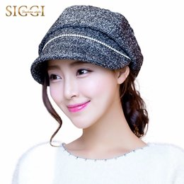 Wholesale Red Sombrero - Wholesale- Siggi Women Newsboy Cap Cabbie Painter Hat Visor Beret Warm Diamond Hat for Women Winter Hat Mujer Sombreros Invierno