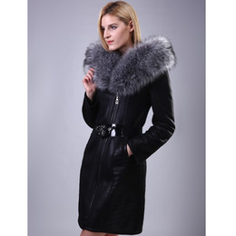 Wholesale Real Fur Suits - 2017 Fox real Fur Lady suit section Personalized customization Fashion women Faux leather suede coat sheep
