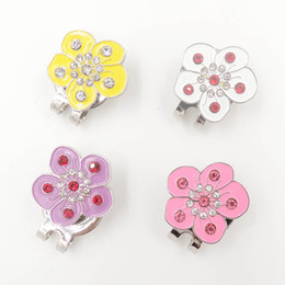 Wholesale Drilling Hat - Wholesale- golf hat clip golf clip marker,flower pictures Crystal stick drill