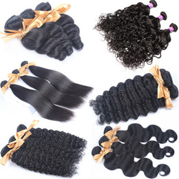 Wholesale Cheap Loose Wave Brazilian Hair - Bouncy Curly Raw Brazilian Peruvian Malaysian Indian Loose Wave Human Hair Extensions Cheap Body Straight Kinky Virgin Hair Weaves 3 Bundles