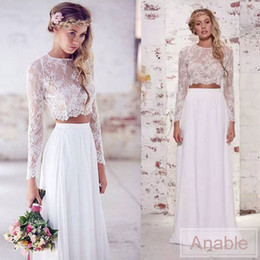 Wholesale photo cropping - Real Photo 2017 Bohemian Two Pieces Crop Top Beach Wedding Dresses Chiffon Ruched Floor Length Wedding Gowns Lace Long Sleeve Wedding Dress