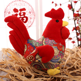 Wholesale Rooster Chicken Costume - New arrival !!! 40 cm 1pcs Chicken Rooster costume cloth doll plush toys Christmas gift Chicken mascot