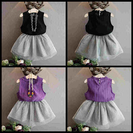 Wholesale Wholesale Black Tank Dresses - kids clothing girls fashion dress set sleeveless tank tops+skirts girl's outfits children set kids boutiques dresses summer boutique suit