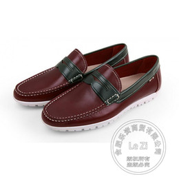 Wholesale Men Wine Dressing Wedding - Stitched Wine Red Western Lazy Shoes Mens Dress Shoes Genuine Leather Decent Men's Loafers Antiskid Pure Color Plain Mark Thread