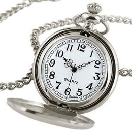 Wholesale Pendant Pocket Watch Silver - Wholesale-Women Men Smooth Quartz Pocket Watch Necklace Pendant GIft Black Silver
