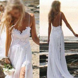 Wholesale Boho Chiffon - 2017 Simple Beach Boho High Low Wedding Dresses Bohemian Lace Bodice Spaghetti Straps Backless High Split Bridal Gowns Dresses