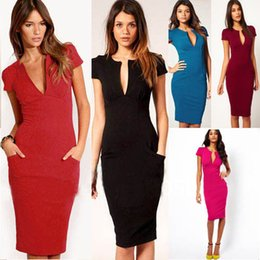 Wholesale Hot Sexy Office Wear - 6 Colors Hot Sale Sexy Deep V Neck Slim Short Sleeve Office Work Dresses Women Solid Patchwork Pocket Brief Pencil Dress