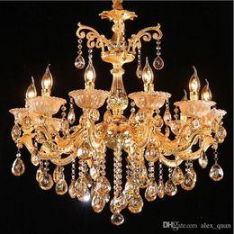 Wholesale Candle Pendant Style Lighting - Golden Luxury Crystal Chandelier Lighting European style Candle Pendant Lights 6 8 10 Arm Living room Restaurant Hotel Lighting Fixture