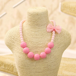 Wholesale Wholesale Beaded Ties - Kawaii Pink Lace Bow Tie Kids Necklace Candy Colorful Beaded Necklace for Cute Girl Choker Jewelry Accessory Wholesale