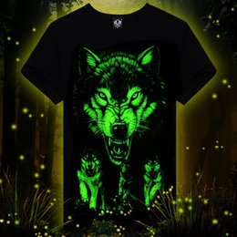 Wholesale Glow Tshirt - Wholesale- Wholesale summer brand clothing Novelty Mens tshirt homme 3D Glow in the Dark Luminous t shirt Men Wolf Printed Short Sleeve t