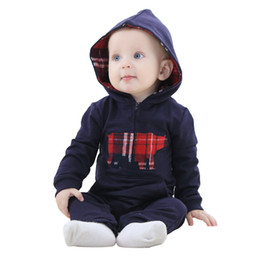 Wholesale Cute Maternity Clothing - IDGIRL Hooded Baby jumpsuit Cattle cute dark blue cows baby romper Kids new arrival baby rompers Clothing Maternity