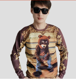 Wholesale Leopard Crewneck - Fashion Cool Kanye West Mens Sweatshirts Dropout Bear Album Cover Pattern Print Hoodies Funny Crewneck 3D Pullovers For Unisex