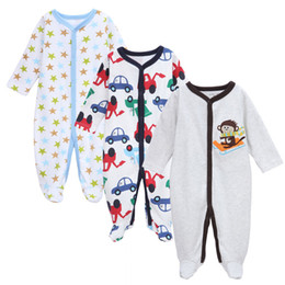 Wholesale Baby Long Sleeve Star - Baby Girl Boys Romper 3PCS Set Long Sleeve Cotton Good Quatity Animal Star Car Pattern Children Clothing