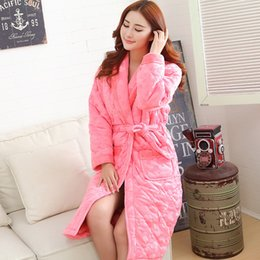 Wholesale Quilted Flannel - Wholesale- Russian winter bathrobe long-sleeve women pajamas quilted jacket female long robe thick flannel Thick Long Spa robe women 3XL