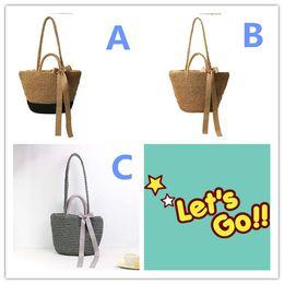 Wholesale Wholesale Holiday Shopping Bags - Beach Bags Handmade Handbags Straw Bag Summer Bohemia Holiday Shoulder Bags for Women Straw Shopping Tote