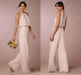 Wholesale Light Up Suits - Modest Pearl Pink Long Bridesmaid Dresses Country Chiffon Pant Suit Halter Maid Of Honor Dress Evening Party Gowns Formal Prom Dress