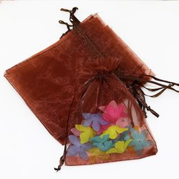 Wholesale Coffee Organza Bags - 100ps 9x12cm Coffee Color Jewelry Gift Organza Bags Wedding Favors Candy Pouches Home Party Decoration Crafts Pack Festive Supplies