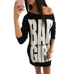 Wholesale Fall Tunics - Autumn Fall Bad Girl letters print t shirt dress Women Gray Black Long Sleeve Loose Tunic Dresses Casual Long Tops Vestido 10880