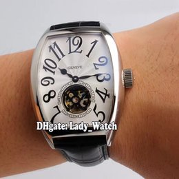 Wholesale Cheap Tourbillon Watch - 2017 Cheap New Luxry Brand Cintree Curvex White Dial Tourbillon 8880 T Automatic Mens Watch Leather Strap High Quality Gents Watches