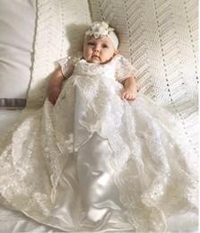 vestido de comunión escote ilusión Rebajas De alta calidad de encaje completo de manga corta de marfil niño pequeño bautismo infantil 2019 recién nacidos bebés vestidos de primera comunión