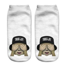 Wholesale Wholesale Sock Monkey - Wholesale-Single Side 3D Printed Emoji Monkey Bucket Hat Women Socks calcetines Casual Charactor Socks Unisex Low Cut Ankle Socks