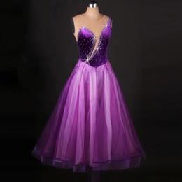 Wholesale Girl Sex Skirt - Women Standard Ballroom Dance Dress 2017 Girls Purple Organza Skirt Sex Stage Sequin Dance Costumes Flamenco Waltz Dance Dress FN121