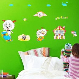 Wholesale Sheep Wall Stickers - Pleasant Sheep Wall Stickers Removable Wallpaper Children Kid Room Cute Hot Sale Decor Large Decoration Adhesive Wall Home