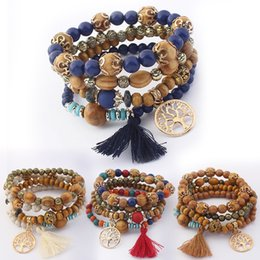 Wholesale Wood Tree - 5 Styles New Bohemian Beach Multilayer Wood Beads Tassel Tree Of Life Charm Bracelets Bangles For Women Gift Wrist Mala Bracelet B630S