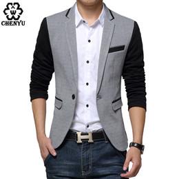 Wholesale Suite Jackets - Wholesale- New Slim Fit Casual jacket Cotton Men Blazer Jacket Single Button Gray Mens Suit Jacket 2017 Autumn Patchwork Coat Male Suite