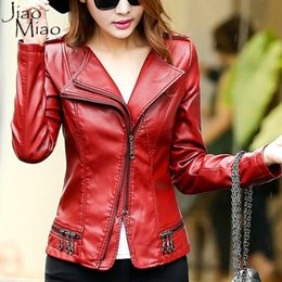 Wholesale Ladies Genuine Fur Jackets - Wholesale- Jiao Miao Black Female Red Autumn Winter Ladies Blouson Coat Pu Genuine Leather Windbreaker Spring Women Bomber Jacket