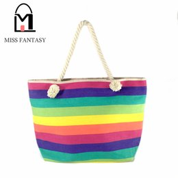 Wholesale Tote Bags Stripped - Wholesale-2016 Fashion Bohemia Women's Canvas Handbag Beach Bag Colorful Rainbow Strip Shopping Bags Big Tote Bags Travel Shoulder Bags