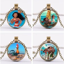 Wholesale Glass Pendants For Necklaces Wholesale - 20Pcs Lot Moana Neckalce Silver Bronze Moana Maui Heihei Glass Cabochon Necklaces time Gemstone Pendants for women Children Jewelry