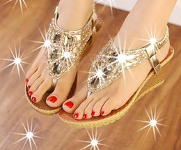Wholesale Low Heel Gold Dress Sandals - 2017 new diamond bead summer cool slippers slope with ladies sandals beach shoes G241