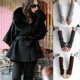 Wholesale Knit Arm Warmers - Wholesale- Hot Sale Winter Wrist Arm Hand Warmer Knitted Long Fingerless Gloves 1Pair Mitten For Women Wholesale 3 Colors
