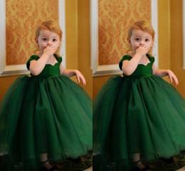 Wholesale First Zipper Made - 2016 ball gown flower girl dresses Off the Shoulder Zipper Back Dark Green Tulle prom dresses for girls First Communion Wear