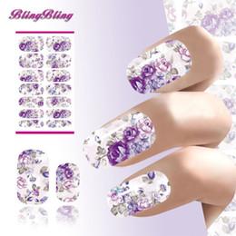 Wholesale romantic sticker design - Wholesale-Water Transfer Nails Sticker Romantic Gray And Purple Flowers Design Nails Foil Sticker Decor Decals