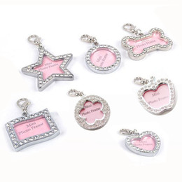 Wholesale Diamond Pet Id Tags - 10pcs Zinc Alloy Pet Dog ID Tags pendants Inlaided with bling diamonds 7 shapes pet tags