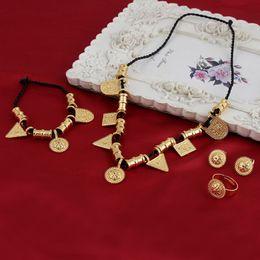 Wholesale Jewelry Hanging Rope - Eritrea Habesha Ethiopian set Jewelry Rope Necklace Diversify Hanging drop Bracelet Earring Ring 18k Yellow Solid Gold GF Africa Wedding
