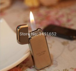 Wholesale Cute Lighters - Wholesale-Ultra thin Cheap Simple Design Metal Cover Cigarette Smoker lighter Inflatable flame portable windproof refillable Cute Gifts
