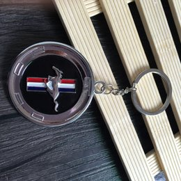 Wholesale keyring keys - 3D Fashion keyring for Ford Mustang Logo Keychain personality Logo Pendant car Mustang logo emblem key chain 4S shop sales promotion gift