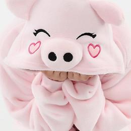 Wholesale Kigurumi Pajamas Pink - Wholesale Unisex Adult Flannel funny pink pig Cartoon Animal onecie Pajamas Kigurumi animal suite for party halloween cosplay costume